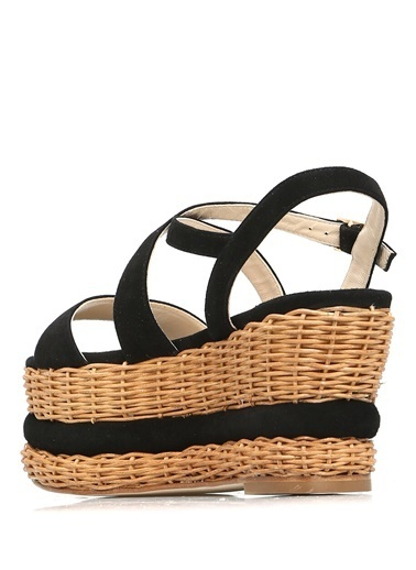 Paloma Barcelo Hasır Dolgu Topuk Sandalet Siyah